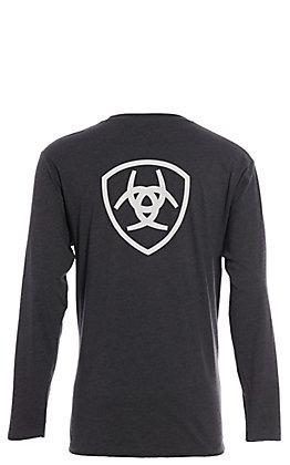 Ariat Men's Heather Grey Logo Long Sleeve T-Shirt