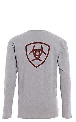Ariat Men's Grey Logo Long Sleeve T-Shirt