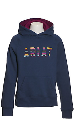 Ariat Girls' REAL Navy with Serape Logo Hooded Sweatshirt
