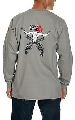 Ariat Men's Silver Fox Longhorn Graphic Long Sleeve FR T-Shirt