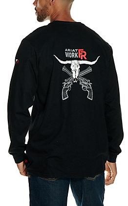 Ariat Men's Black Longhorn Graphic Long Sleeve FR T-Shirt