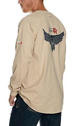 Ariat Men's Air Henley Sand Heather with Soar Graphic Long Sleeve FR Work Shirt