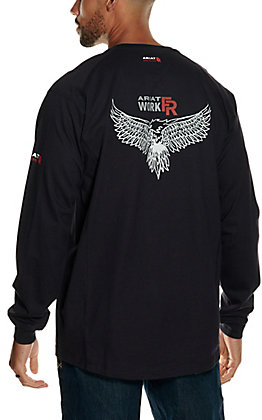 Ariat Men's Air Henley Black with Soar Graphic Long Sleeve FR Work Shirt