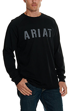 Ariat Men's Rebar Cotton Strong Black Block Logo Graphic Long Sleeve T-Shirt