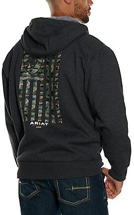 Ariat Men's Rebar Charcoal Heather Camo Flag Graphic Fleece Full Zip Hoodie