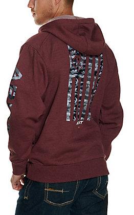 Ariat Men's Rebar Malbec Heather Camo Flag Graphic Fleece Full Zip Hoodie - Big & Tall