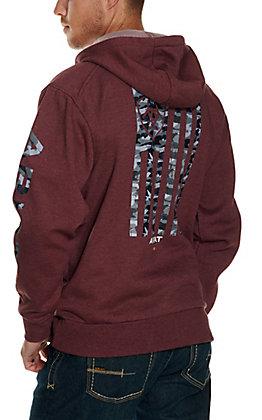 Ariat Men's Rebar Malbec Heather Camo Flag Graphic Fleece Full Zip Hoodie