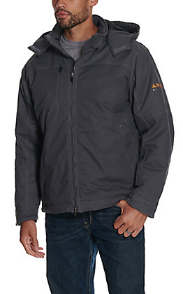 Ariat Men's Rebar MaxMove Cordura Grey DuraStretch Insulated Hooded Jacket
