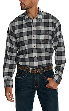 Ariat Men's Rebar Grey and Blue Plaid DuraStretch Flannel Shirt