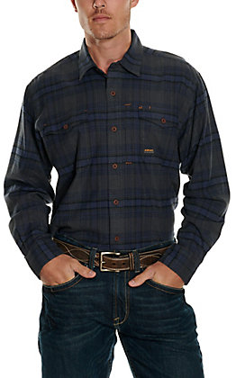 Ariat Men's Rebar Charcoal and Blue Plaid DuraStretch Flannel Shirt