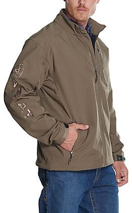 Ariat Men's Logo 2.0 Morel Tan with Camo Logo Softshell Jacket