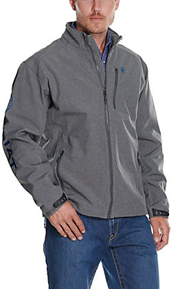 Ariat Men's Logo 2.0 Charcoal Grey with Cobalt Logos Softshell Jacket