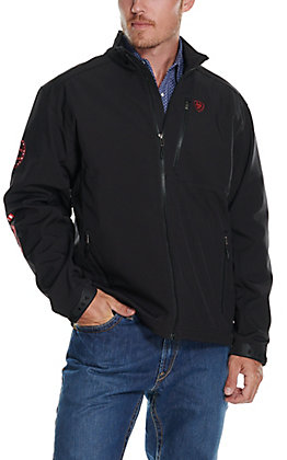 Ariat Men's Logo 2.0 Black with American Flag Logo Softshell Jacket
