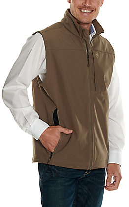 Ariat Men's Logo 2.0 Morel Tan with Camo Logo Softshell Vest