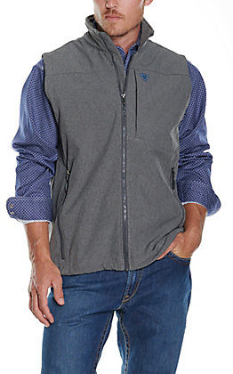 Ariat Men's Logo 2.0 Charcoal Grey with Cobalt Blue Logos Softshell Vest