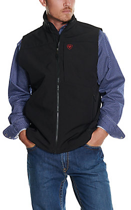 Ariat Men's Logo 2.0 Black with American Flag Logo Softshell Vest