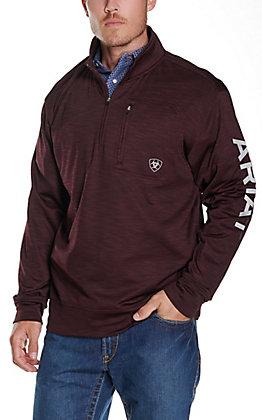 Ariat Men's Team Logo Malbec with Pearl Grey Logos 1/4 Zip Pullover Jacket