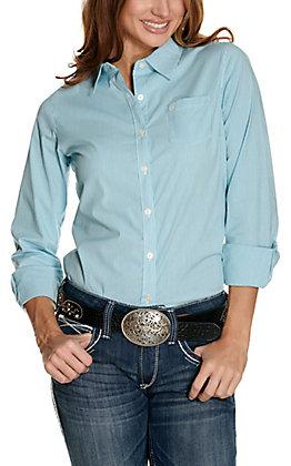 Ariat Women's Kirby White and Aqua Stripes Long Sleeve Western Shirt