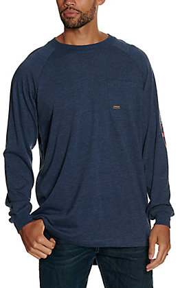 Ariat Men's Rebar Cotton Strong Heather Navy American Flag Logo Graphic Long Sleeve T-Shirt