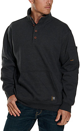 Ariat Men's Rebar Overtime Charcoal Heather Fleece Pullover Jacket