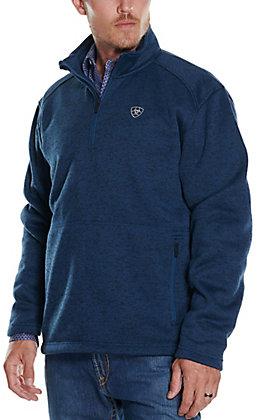 Ariat Men's Caldwell Indigo Heather 1/4 Zip Sweater Jacket