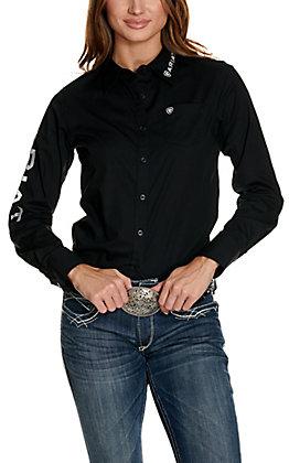 Ariat Women's Kirby Black with Logos Long Sleeve Western Shirt