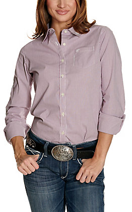Ariat Women's Kirby White and Violet Stripes with Logos Long Sleeve Western Shirt