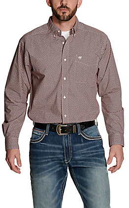 Ariat Men's Kelso Brown with White and Red Print Long Sleeve Western Shirt