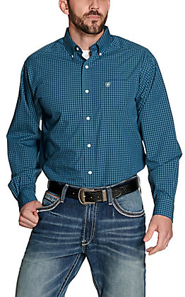 Ariat Men's Lager Navy with Turquoise Plaid Wrinkle Free Long Sleeve Western Shirt