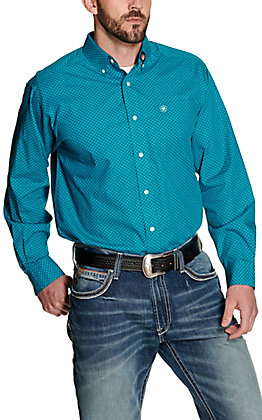 Ariat Men's Laguna Teal with Geo Print Wrinkle Free Long Sleeve Western Shirt