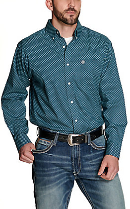 Ariat Men's Lakehurst Navy with Turquoise Diamond Print Wrinkle Free Long Sleeve Western Shirt