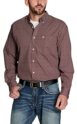 Ariat Men's Maddox Burgundy with Geo Print Wrinkle Free Long Sleeve Western Shirt