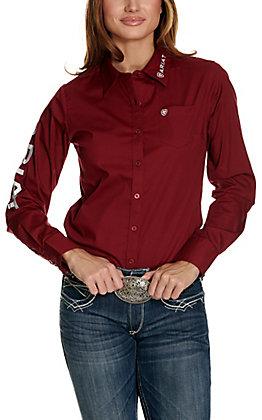 Ariat Women's Kirby Burgundy with Logos Long Sleeve Western Shirt