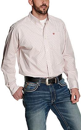 Ariat Men's Keely White with Orange Medallion Print Long Sleeve Western Shirt