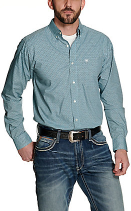 Ariat Men's Kelburn Turquoise with Brown Print Long Sleeve Fitted Western Shirt