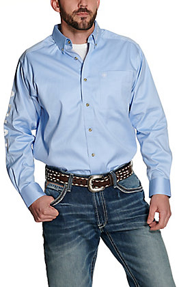 Ariat Men's Team Light Blue with Embroidered Logos Long Sleeve Western Shirt