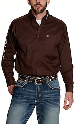 Ariat Men's Team Brown with Embroidered Logos Long Sleeve Western Shirt