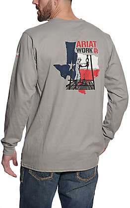 Ariat Flame Resistant Men's Silver Fox Texas Work Graphic Long Sleeve T-Shirt - Cavender's Exclusive