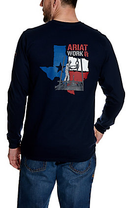 Ariat Men's Navy Texas Graphic Long Sleeve FR Work T-Shirt - Cavender's Exclusive
