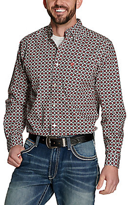 Ariat Men's Illton White with Black and Coral Aztec Print Long Sleeve Fitted Stretch Western Shirt
