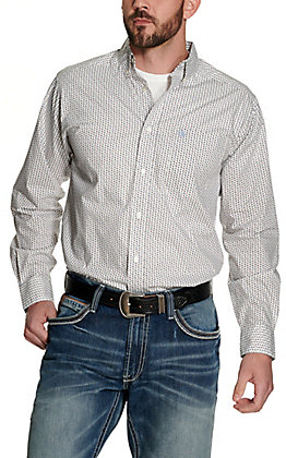 Ariat Men's Jollybrook White with Navy and Brown Arrow Print Long Sleeve Fitted Western Shirt