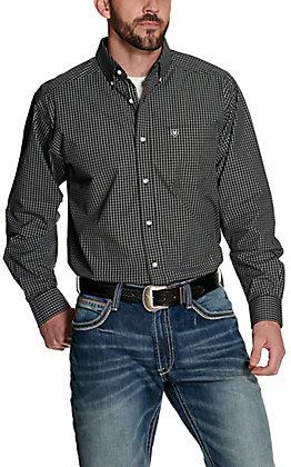 Ariat Men's Pro Series Inbrook Black with White Plaid Long Sleeve Western Shirt