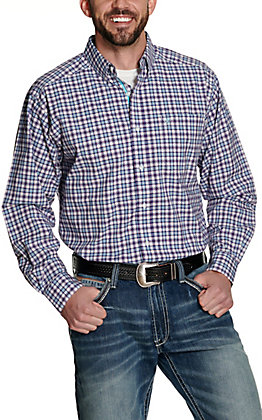 Ariat Men's Pro Series Ingham White with Blue and Coral Plaid Long Sleeve Stretch Western Shirt