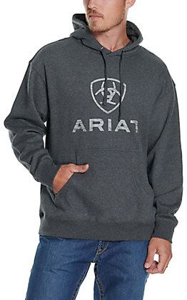 Ariat Men's Rough Grain Charcoal Heather Grey Logo Hoodie