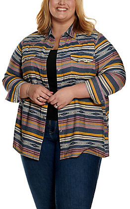 Ariat Women's REAL Sunset Beauty Multi-Colored Aztec Stripes Long Sleeve Western Shirt - Plus Sizes