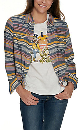 Ariat Women's REAL Sunset Beauty Multi-Colored Aztec Stripes Long Sleeve Western Shirt
