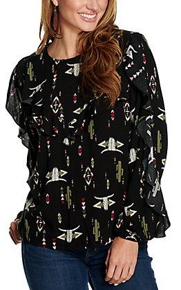 Ariat Women's Darlin Black with Multi Skull Print and Ruffles Long Sleeve Fashion Top