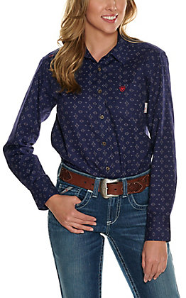 Ariat Men's Sayers Blue Aztec Print DuraStretch Long Sleeve FR Work Shirt