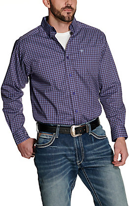 Ariat Men's Jeffron Purple with Brown and White Circle Print Long Sleeve Stretch Western Shirt