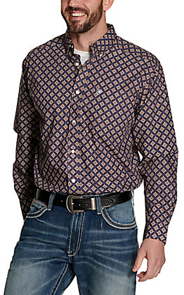 Ariat Men's Jerri Blue with Brown and White Medallion Print Long Sleeve Western Shirt